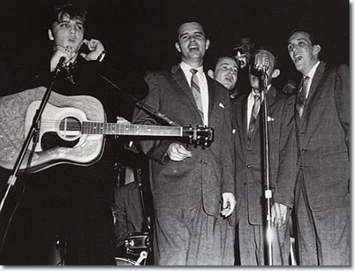 Elvis Presley and The Jordanaires on stage 1956