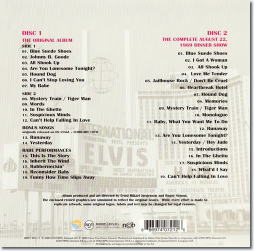 Elvis In Person FTD Special Edition - Back Cover