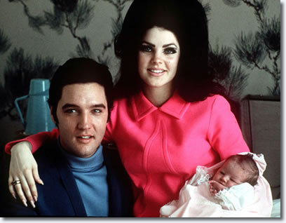 Elvis, Priscilla and baby, Lisa Marie Presley
