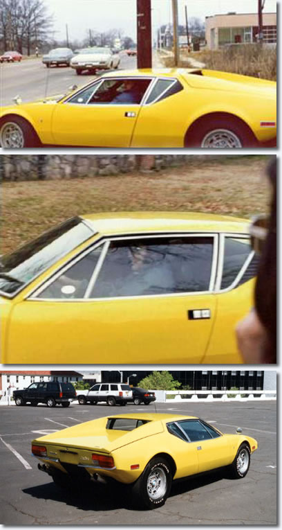 Elvis driving his De Tomaso Pantera and below a photo from latter years
