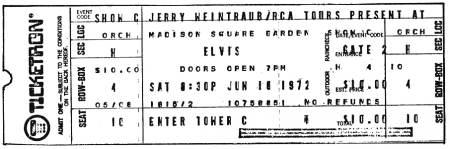 Elvis concert ticket.