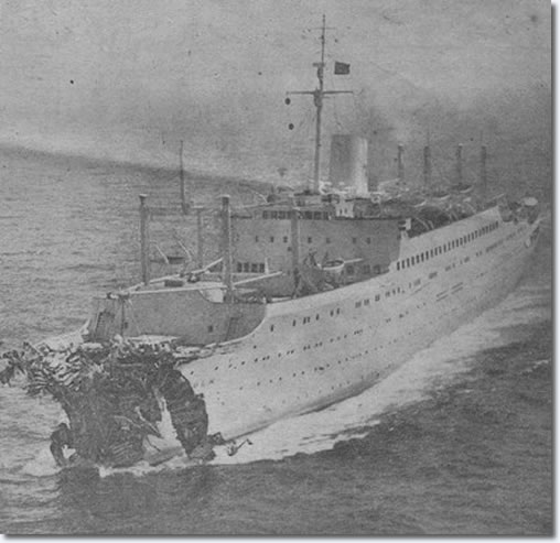 The MS Stockholm heads to New York after colliding with Andrea Doria. Note the severely damaged prow