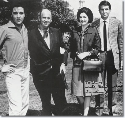 Lynda Johnson, President Lyndon Johnsons daughter, George Hamilton, Colonel Parker with elvis on the set of Spinout.