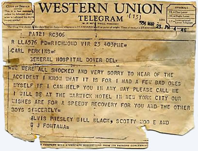 Telegram To Carl Perkins from Elvis Presley (Alvis Presley, Bill Black, Scotty Moore and DJ Fontana)