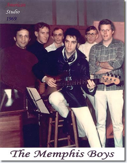Reggie Young (far right) with Elvis and The Memphis Boys in 1969