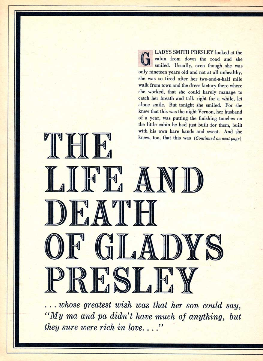The Life And Death Of Gladys Presley, Modern Screen, November 1958