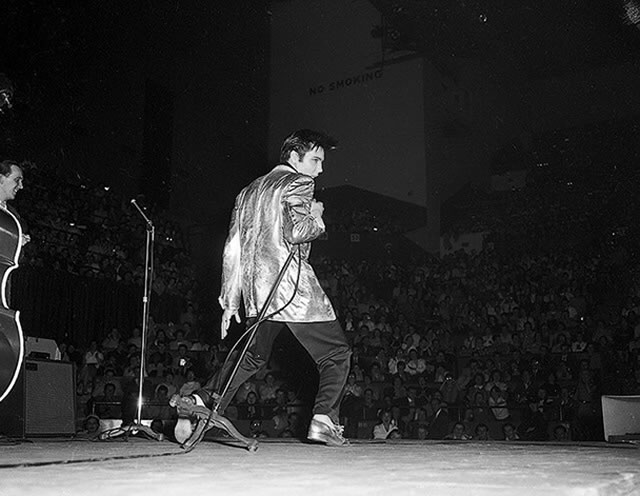 Elvis Presley on-stage in Toronto, April 2, 1957, from the York University Libraries, Clara Thomas Archives & Special Collections, Toronto Telegram fonds, F0433, ASC00832.