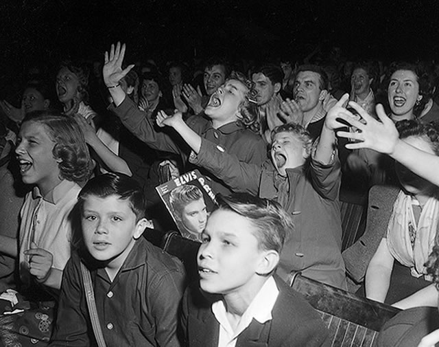 Elvis Presley's fans, April 2, 1957, from the York University Libraries, Clara Thomas Archives & Special Collections, Toronto Telegram fonds, F0433, ASC00840.