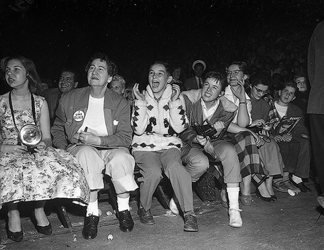 Elvis Presley Fans at Maple Leaf Gardens, April 2, 1957, from the York University Libraries, Clara Thomas Archives & Special Collections, Toronto Telegram fonds, F0433, ASC00843.