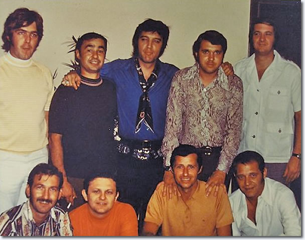 Top: David Briggs, Norbert Putnam, Elvis Presley, Al Pachuki, Jerry Carrigan Bottom: Felton Jarvis, Chip Young, Charlie McCoy, James Burton