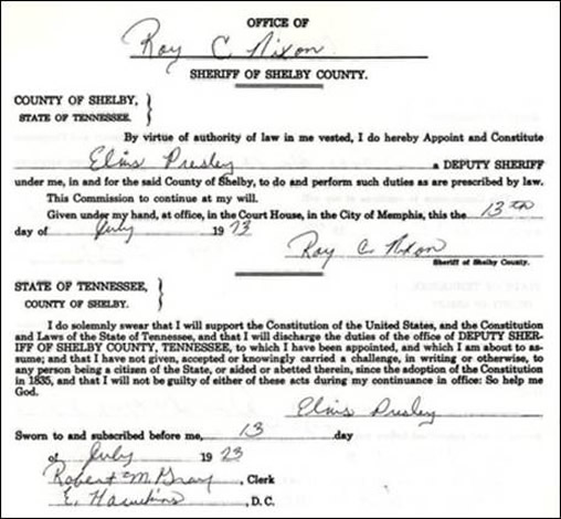 July 13, 1973 document declaring Presley to be a sheriff's deputy.