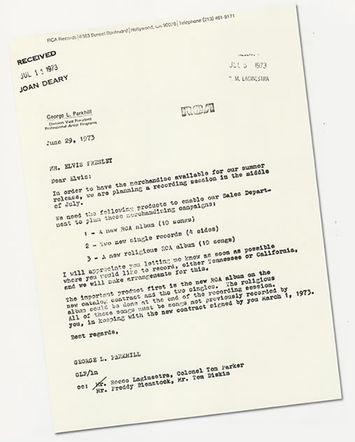 Letter to Elvis Presley from RCA, June 29, 1973.