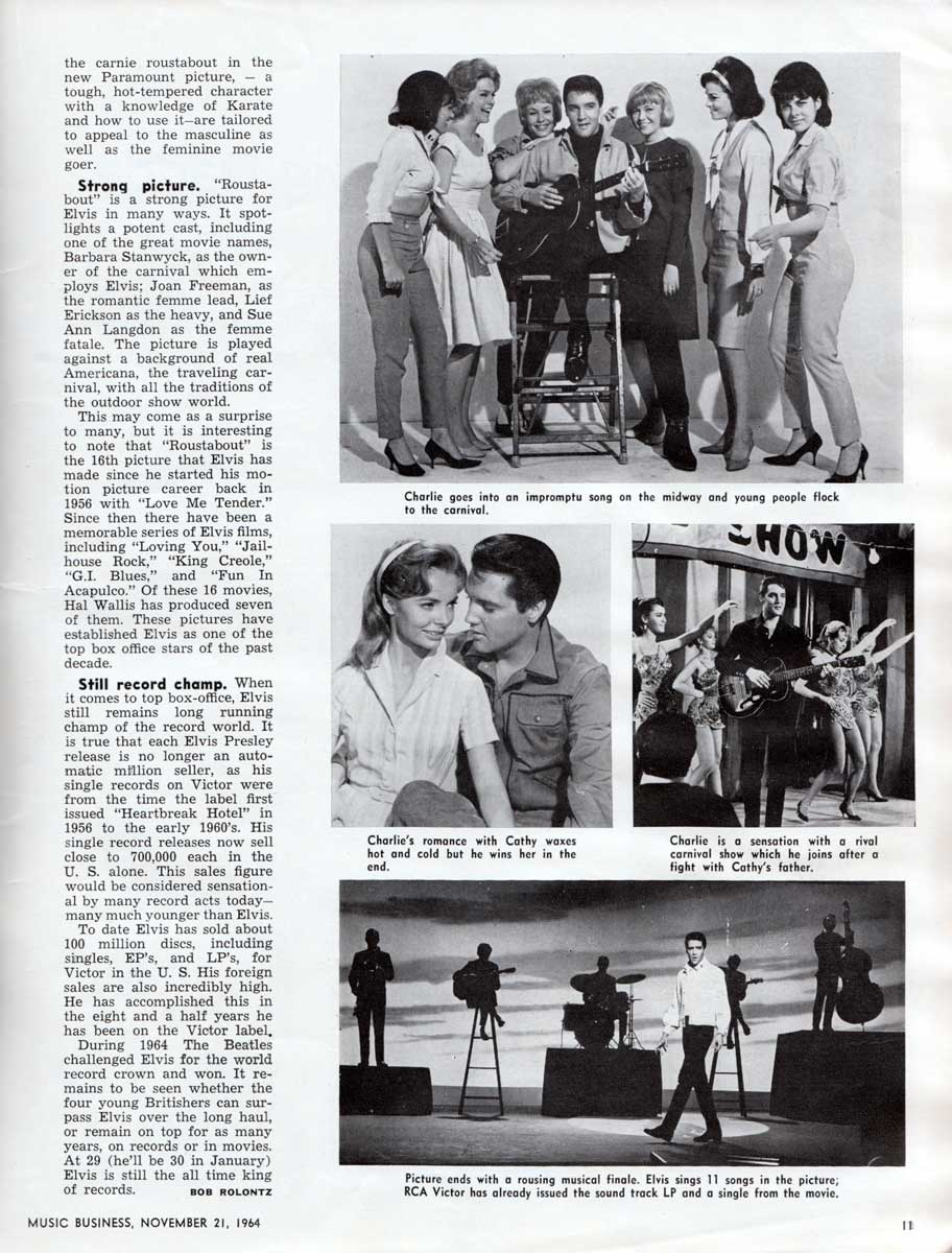 Elvis: Power At The Box Office, by Bob Rolontz, Music Business, November 21, 1964.