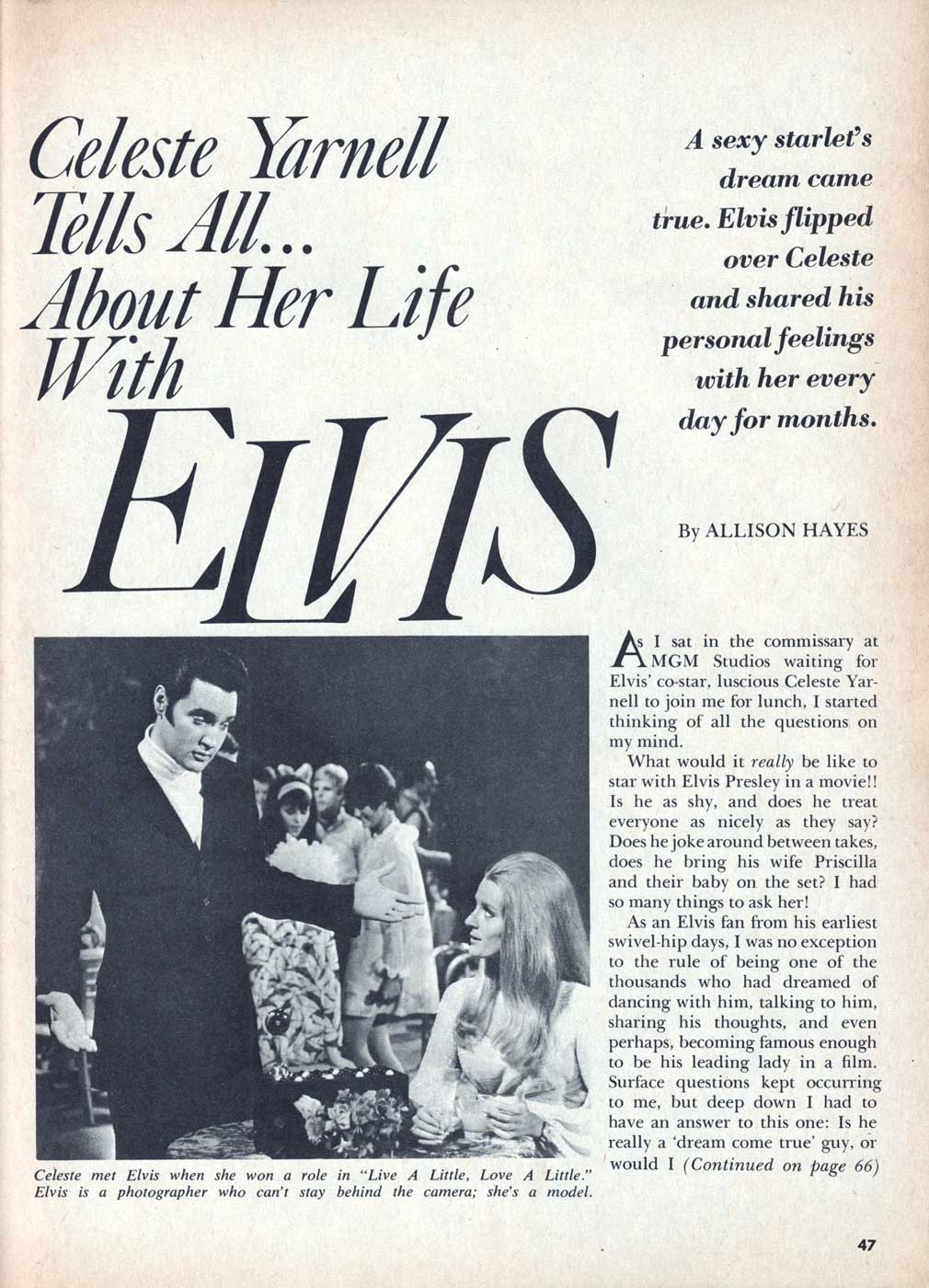 Celeste Yarnell Tells All... About Her Life With Elvis