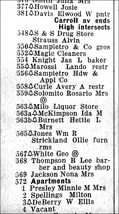 Memphis City Directory listing for Poplar Avenue in 1950.