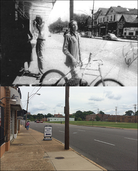Then and now photo showing the spot where Elvis posed for the snapshot in 1949.