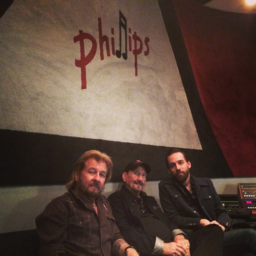 Engineer Matt Ross-Spang (far right) with Jerry Phillips (left) and James Burton during mixing sessions for Elvis Presley's 'Way Down in the Jungle Room' project at the Phillips Recording Service in May.