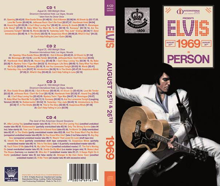 Elvis 1969 In Person : August 25th & 26th 1969 (4-cd Longbox).