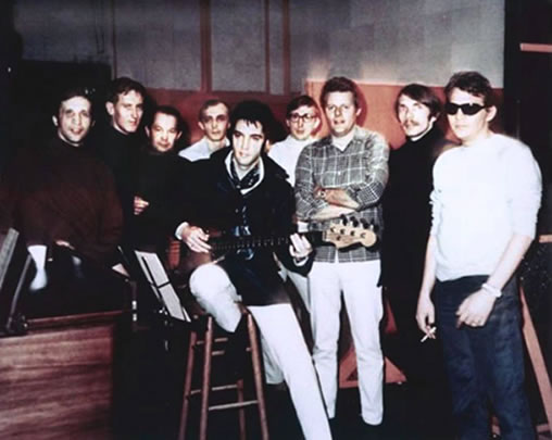 Elvis Presley with the band at American Studios 1969.