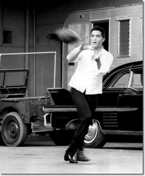 Elvis Presley on the movie set.