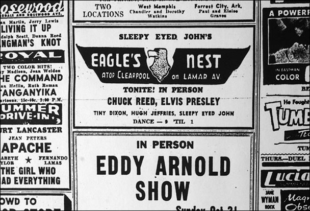 Here's an ad for one of Elvis' shows at the Eagle's Nest.