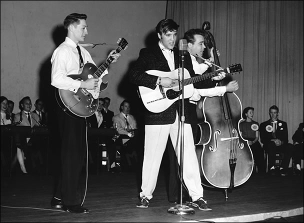 Elvis and his band performed at Messick High and Junior High School auditoriums in winter 1955.