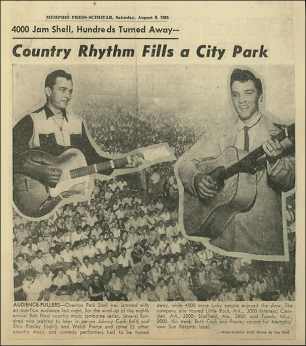 Elvis' Overton Park Shell performance makes the local paper.