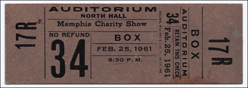 A ticket for Elvis' charity concert in Memphis in 1961.