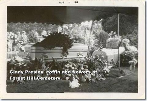 Gladys Presleys Coffin Forest Hills Cemetery August 1958.