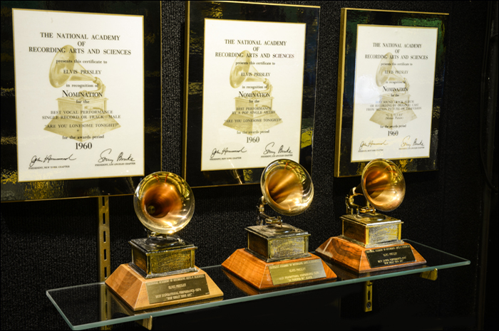 Elvis' three Grammys are currently on display in the Hall of Gold at Graceland.