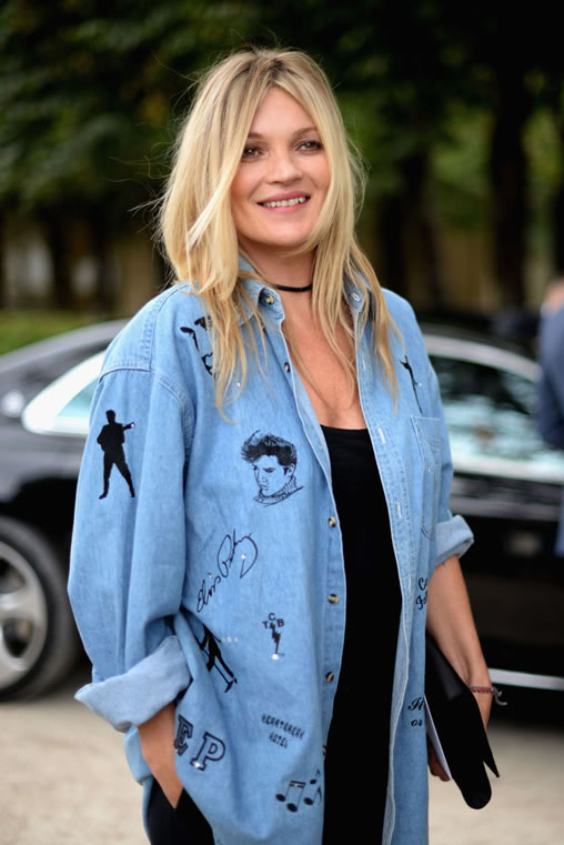 Kate Moss wears Elvis denim shirt in Paris.