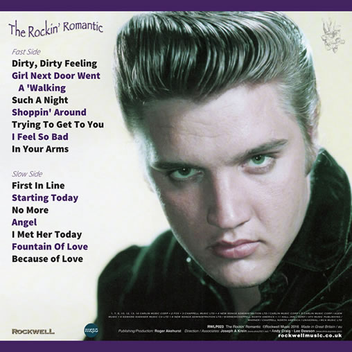 The Rockin' Romantic LP on 180g Lilac Vinyl back cover.