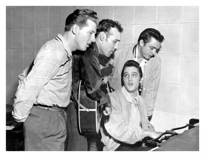 The 'Million Dollar Quartet'. Jerry Lee Lewis, Carl Perkins, Johnny Cash, Elvis Presley. December 4, 1956.