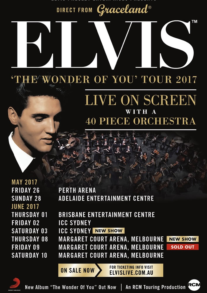 New shows added to 'The Wonder Of You' Tour of Australia.
