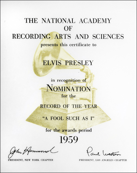 Elvis' 'A Fool Such as I' was nominated for the very first Grammy Awards ceremony.