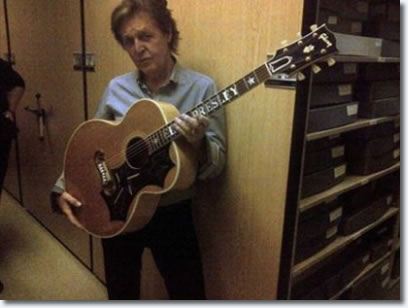 Paul McCartney briefly played Elvis' 1956 Gibson J200 guitar while humming the famous Elvis tune Loving You.