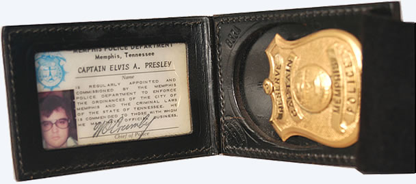 Elvis' Memphis police badge, using the photo taken in the TV Room.