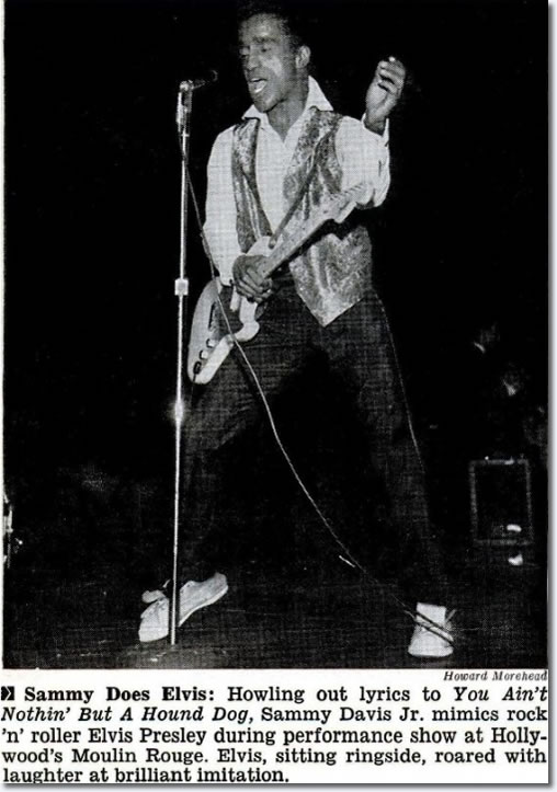 Sammy Davis Jr. imitating Elvis on stage performing Hound Dog, February 27, 1958.