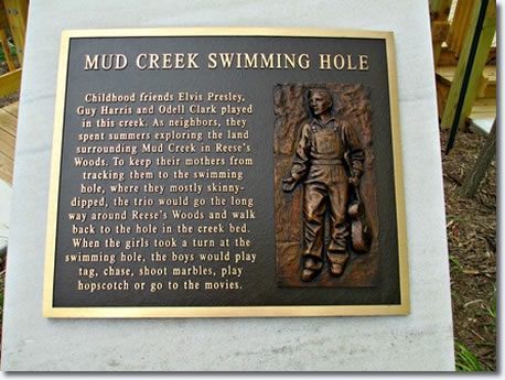 The plaque commemorating Elvis Presley's, Mud Creek Swimming hole located in Tupelo.