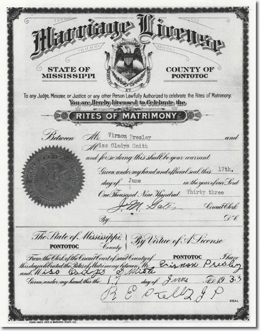 Vernon and Gladys Presley Marriage License.