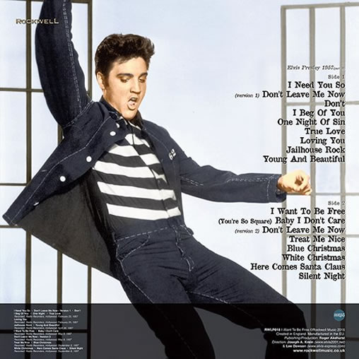 Elvis Presley : I Want To Be Free TURQUOISE Vinyl, LP - 1957 (Part II) Back cover.