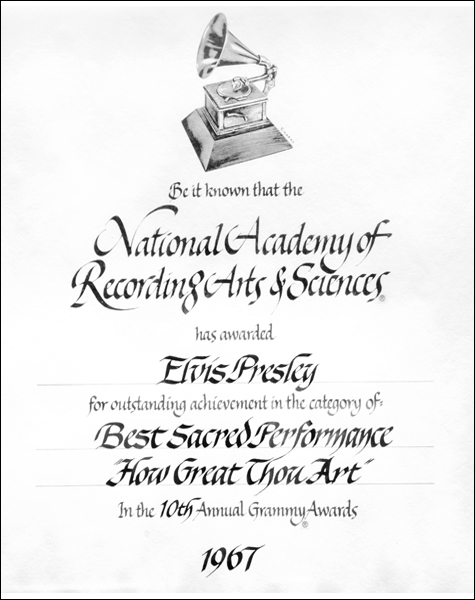 This is Elvis' winning certificate for 'How Great Thou Art.'