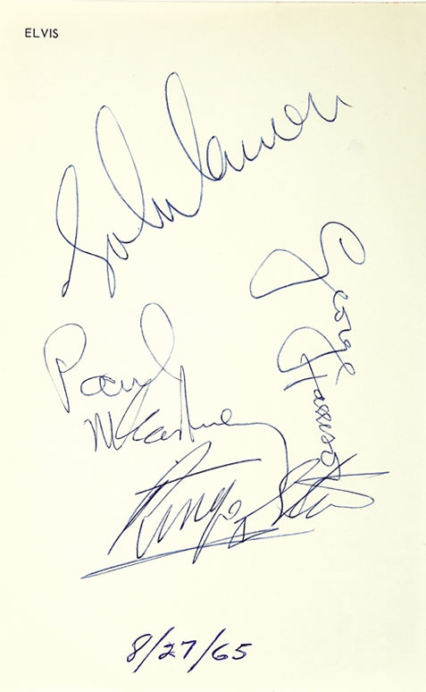 Beatles' Autographs on Elvis' Personal Stationery | August 27, 1965