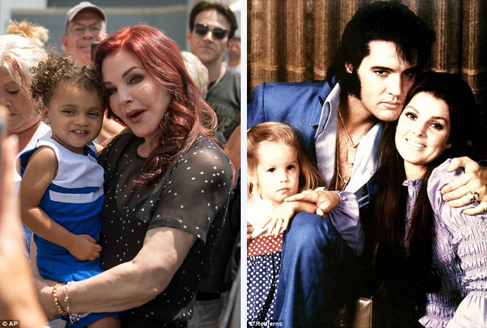 Greeting: Priscilla Presley is seen left on Tuesday afternoon greeting visitors to an overnight vigil in memory of her ex-husband, Elvis. They pair are also seen right around 1970 with their daughter Lisa Marie.