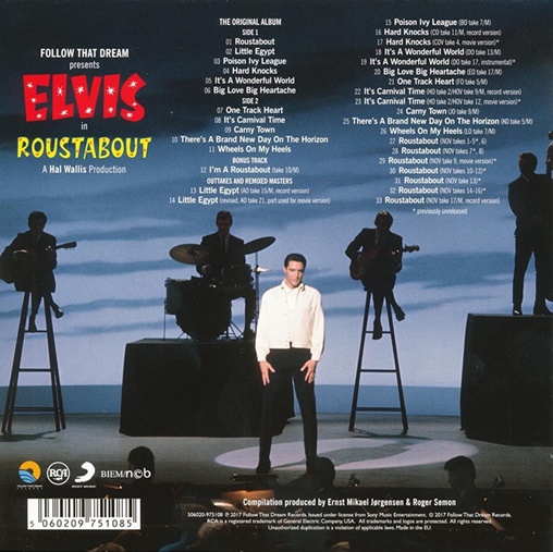 Elvis: 'Roustabout' FTD Special Edition Classic Album CD. Back Cover.