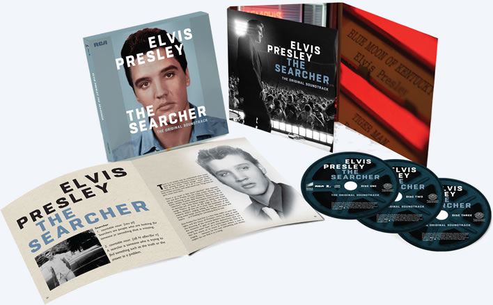 "Elvis Presley: The Searcher 3 CD Deluxe 8""x 8"" Box Set w/ 40 page book in slipcase."