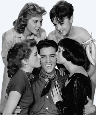 Elvis Presley with Dolores Hart, Jan Shepard, Liliane Montevecchi, Carolyn Jones, 1958.