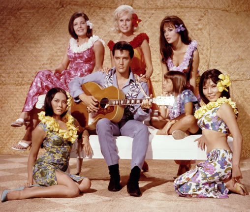 Publicity photo 'Paradise Hawaiian Style' (Suzanna Leigh is behind Elvis).