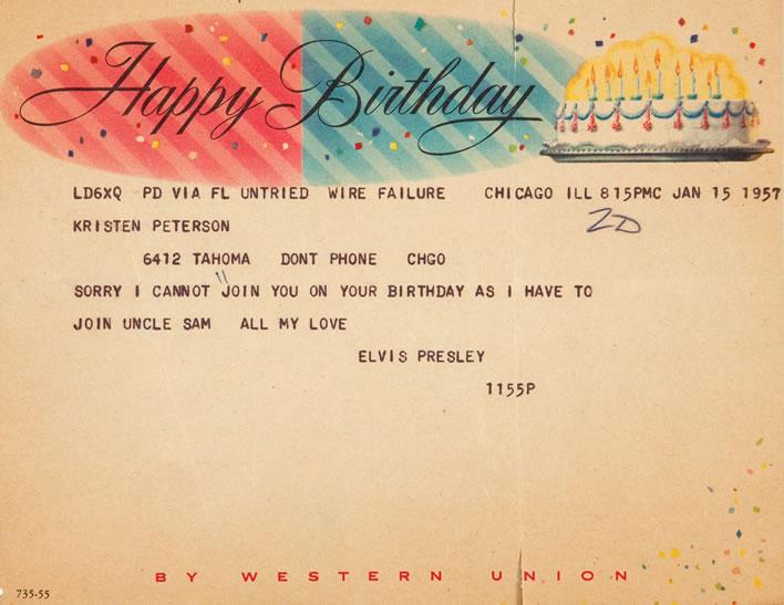 Elvis Presley Telegram to Young Fan (1957)
