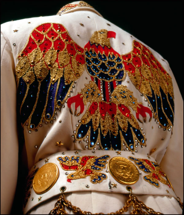 Elvis' American Eagle jumpsuit, designed by Belew, is his most famous jumpsuit.